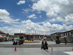 View of the Jokhang Temple seen from the Barkhor Square in central Lhasa