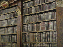 Bookshelves in the library at Melk Abbey