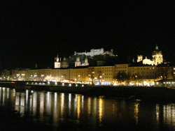 View of the Salzburg skyline at night as seen from the Hotel Sacher