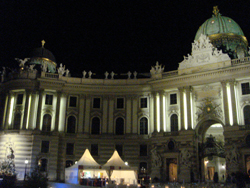 The Hofburg Palace in Vienna by night