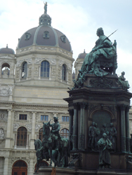 Statue of Empress Marie Therese in front of the Art History Museum in Vienna, Austria