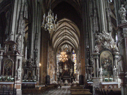Nave of the Cathedral of St Stephans in central Vienna, Austria