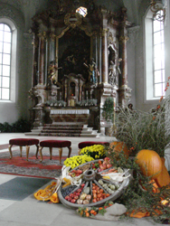 Interior of St Gallus Church prepared for the harvest festival in Bregenz old town