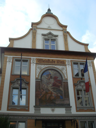 Building with decorated exterior in Bregenz Old Town
