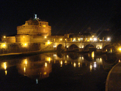 The Castel Sant'Angello in Rome by night