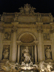 The massive Trevi Fountain by night