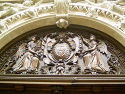 Detail of entrance to the door at the Cathedral of Notre Dame, Luxembourg