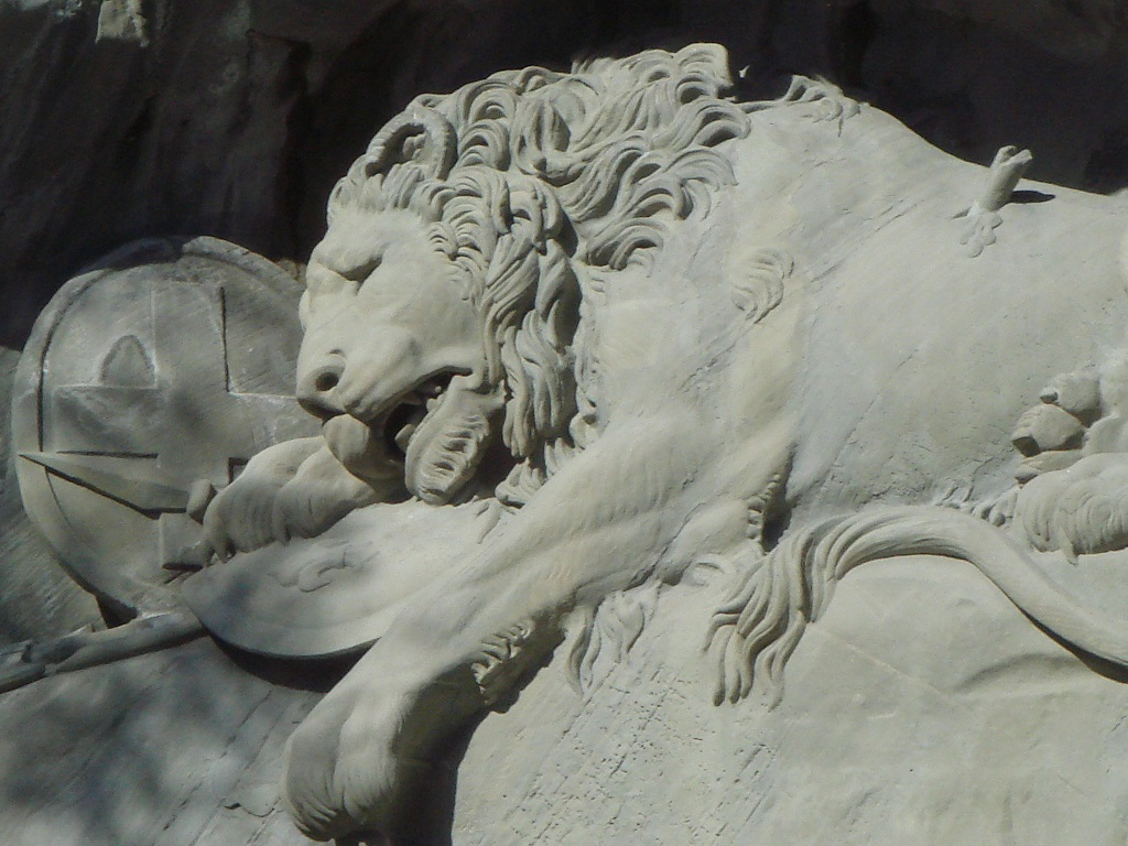 Detail of the Lion Monument in Lucerne