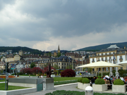 View of Neuchâtel from the lake side promenade
