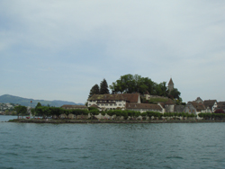 View of the Kloster and Castle of Rapperswil from a ship on the Lake