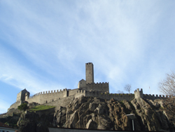 Looking up at the Castelgrande in Bellinzona, Canton Ticino, Switzerland