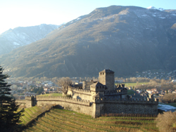 Looking down at the Castle of Montebello in Bellinzona, Canton Ticino, Switzerland