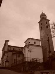 View of the Cathedral of San Lorenzo in Lugano, Ticino, Switzerland
