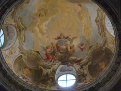 Decorated ceiling above a chapel in the Cathedral of San Lorenzo in Lugano, Switzerland