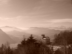 View of the Alps from the top of Monte Bre in Lugano, Ticino