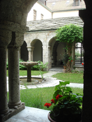 Closter at the Abbey of Saint Maurice, the oldest abbey north of the Alps