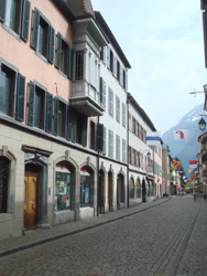 Main street of Saint Maurice, Valais