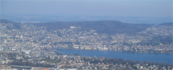 View of Zürich from the top of Uetliberg - the house mountain of Zürich