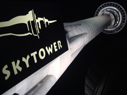 The Sky Tower in Auckland by night