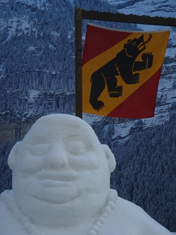 Grindelwald - snow Buddha at the International Snow Festival