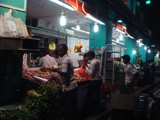 Singapore - market stall in Little India by night
