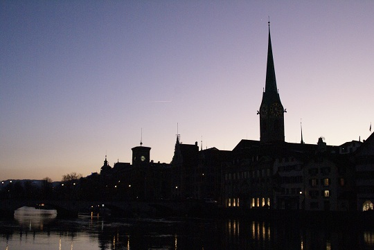 Zürich - Fraumünster at sunset