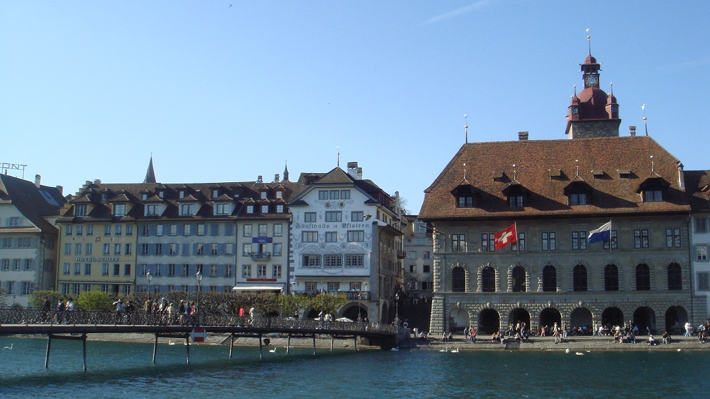 View of the old town accross the River Ruess in Lucerne